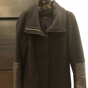 Club Monaco wool coat with leather detail